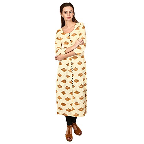 Jenee Ventures Creamy Off White Long Cotton Front Cut Formal Wear Kurti for women (D. No. 06, Small)  available at amazon for Rs.450
