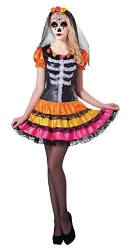 8Tag der Toten Lady Rainbow Kostüm, UK 10–14 (Zucker Schädel-ideen Für Halloween)