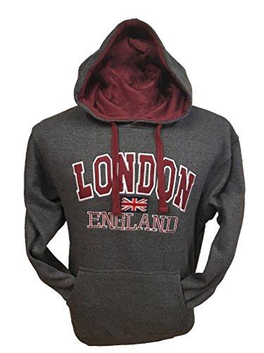 London England–Qualität bestickt an, Sweatshirt mit Kapuze–Unisex Gr. xl, Grau - H-Grey (Pullover Jack Bestickte)