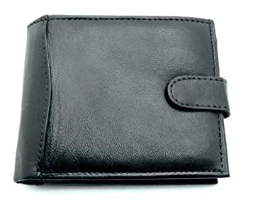Mens High Quality Luxury Soft Leather Tri FoldWallet With Multiple Credit card Slots, ID Window and Coin Pocket (Black)