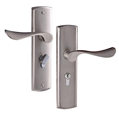 Baoblaze Europäisches Schutzbeschlag Türbeschlag Mechanisches Sicherheitsschloss Schloss für Wohnungstür Zimmertür - Modern Silber