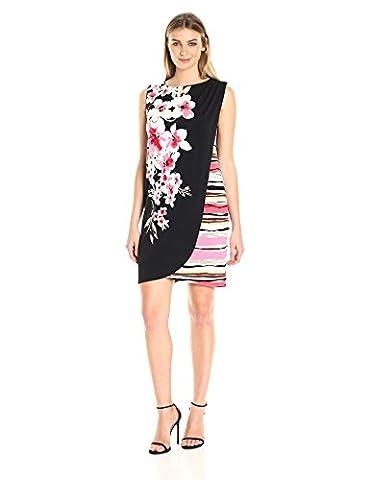 London Times Women's Printed Matte Jersey Tulip Hem Wrap Dress, Black/Pink, 4