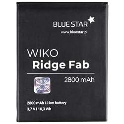 Blue Star - Premium Batterie de Lito-Ion Avec 2800 mAh Charge Rapide 2.0 Compatible avec Wiko Ridge Fab