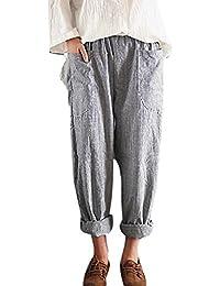 Damen Haremshose Große Größe Atmungsaktiv Bequem Sommerhose Streifen Casual Streetwear Hosen S M L XL 2XL 3XL 4XL 5XL