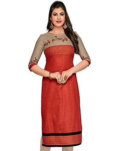 Jevi Prints Women's Dress Material (Kavya-1259_Rust_Free Size)