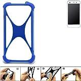 K-S-Trade Handyhülle Vestel V3 5570 Silikon Schutz Hülle Cover Case Bumper Silikoncase TPU Softcase Schutzhülle Smartphone Stoßschutz, blau (1x)