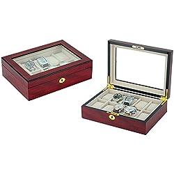 Luxuriöse Uhrenbox von Woolux für 10 Uhren kirschfarben Uhrenvitrine Sichtfenster aus Echtglas
