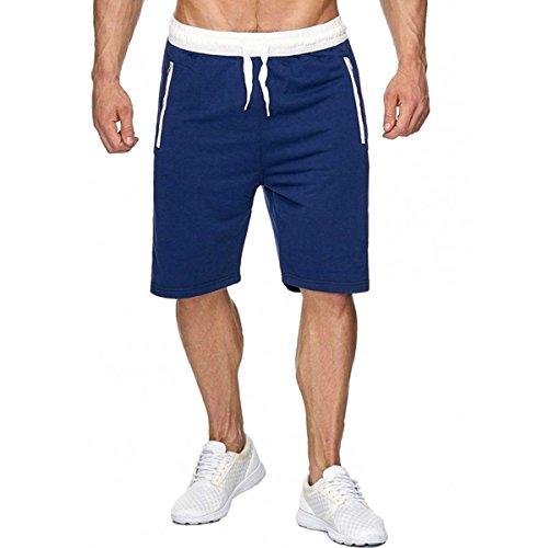 INCERUN herren Sport Joggen und Training Shorts Fitness Fitness Kurze Hose Jogging Hose Bermuda Blau M