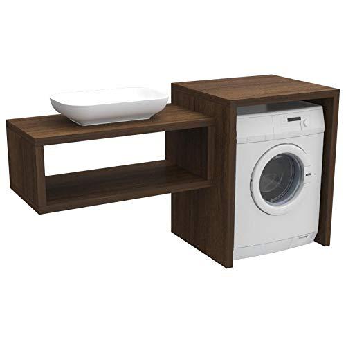 Ve.ca. mobile bagno coprilavatrice stoccolma, realizzato in legno, mensola lavabo + copri lavatrice/asciugatrice + lavabo, diversi colori, anche su misura, lavanderia arredo bagno (wengè)