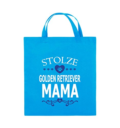 Comedy Bags - Stolze Golden Retriever Mama - HERZ - Jutebeutel - kurze Henkel - 38x42cm - Farbe: Schwarz / Weiss-Neongrün Hellblau / Weiss-Royalblau