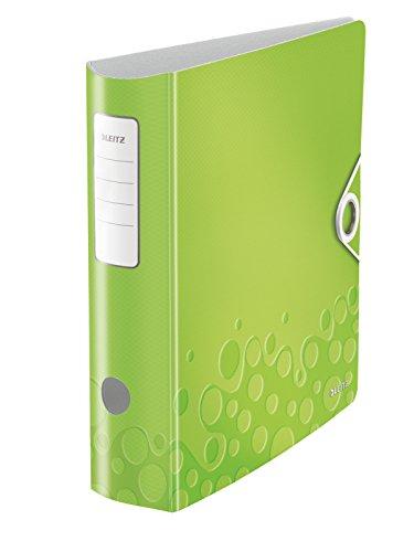 Leitz 11060064 Multifunktions-Ordner (A4, Runder Rücken 8,2 cm Breite, Gummibandverschluss, Kunststoff, WOW) grün metallic -