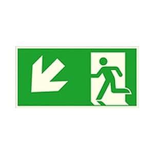 Schild Notausgang links, schräg abwärts (Kombischild) Rettungszeichen / nachleuchtend Größe: 40,0 x 20,0cm Alu