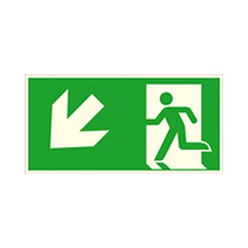 Schild Notausgang links, schräg abwärts (Kombischild) Rettungszeichen / nachleuchtend Größe: 30,0 x 15,0cm Alu