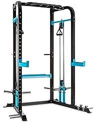 CAPITAL SPORTS Tremendi Rack máquina de poleas con barra de dominadas multiagarre (Safety Spotter, barra larga fija, 2 tomas, jaula musculación multifunción, ejercicios de cable)