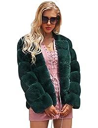 FNKDOR Manteau Femme Epais d hiver Automne Fausse Fourrure Veste Blouson  élégant Chaud Cardigan Fluffy 767d245e5bd