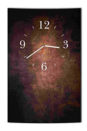 Homeyourself LAUTLOSE Designer Wanduhr Lederoptik braun Dunkelbraun Uhr hochkant rechteckig Bild Dekoschild Bild 25 x 39 cm
