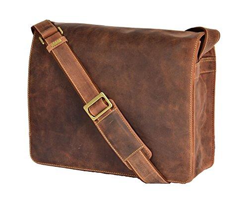 A1 FASHION GOODS Herren Messenger HELLBRAUN Ledertasche VINTAGE A4 Laptop Büro Uni Beiläufig Record Tasche - A48 -