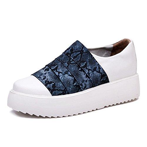 WYWQ Scarpe da donna Ladies Mid Heel Flat Lace Up Canvas Scarpe da ginnastica di tela Scarpe da ginnastica Scarpe sportive Primavera ed estate Fondo spesso Aumentare Le scarpe Piastra Scarpe A Pedal S blue
