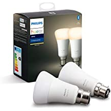 Philips Hue White Smart Bulb Twin Pack LED [B22 Bayonet Cap] with Bluetooth, Works with Alexa and Google Assistant