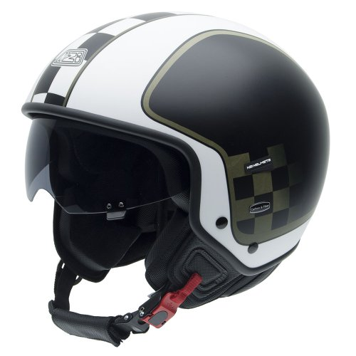NZI 010260G625 Center Style Black Casco de Moto, Blanco, Negro y Verde Militar, Talla 60-61 (XL)
