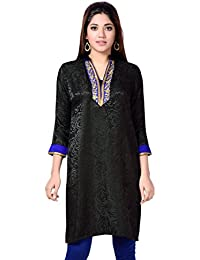 ae978387b3f Studio Shringaar Black Imported Fabric stitched Kurti With Neck work and  3 4th Sleeves