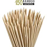 Kitchen Titans Bamboo Wooden skewers Stick for Oven-Perfect for Kabab,PaneerTikka,seekh,Barbeque and Grilling- 150 Sticks 8''