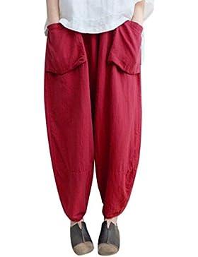 DAYLIN Mujer Oversize Harén Pantalones Suelto Vendimia Étnico Pantalones de Lino