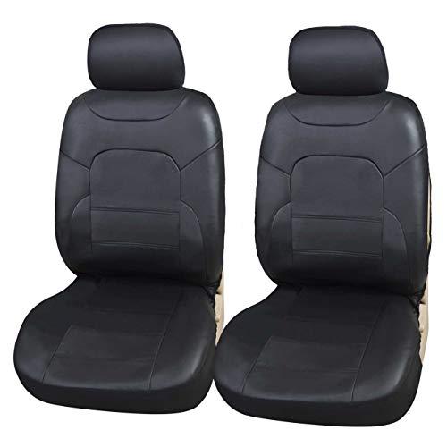 Upgrade4cars Auto-Sitzbezüge Vordersitze | Kunst-Leder Schonbezüge Set Universal Schwarz | Auto-Zubehör Innenraum Sitzschoner