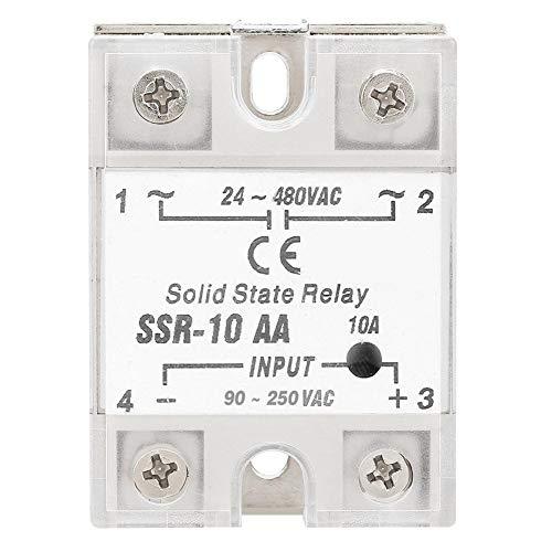 REALM-ARK Solid State Relais, SSR-10 AA 10A Anti Vibration SSR Halbleiterrelais Modul SSR AC AC Ausgang 24-480 V AC Eingang 90-250 V AC -