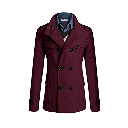 Haodasi Homme Couleur unie Longue Coupe-ventr Double-breasted La laine Manteau red