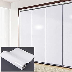JUEYAN 5M Selbstklebende Folie Glanz Folie Klebefolie PVC Möbelfolie Möbelsticker Weiß Plotterfolie Möbel Küche Tür Deko