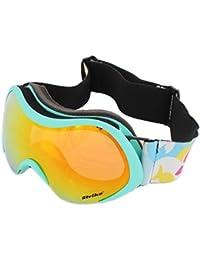 Snowboardbrille Skibrille STRIKE mit verstellbarem Elastik Kopfband orange verspiegelt türkis farbener Rahmen