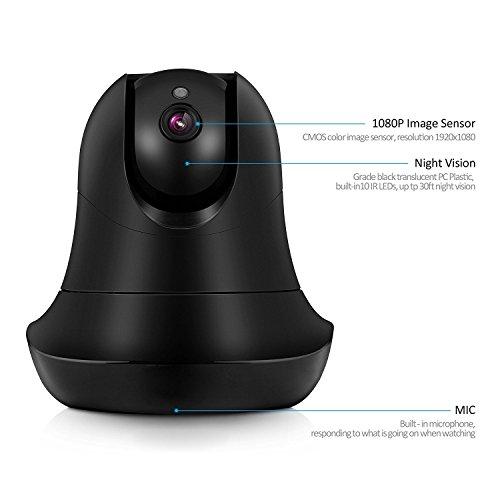 Maxesla 1080P IP Kamera Zwei Wege Video/Audio Wireless HD Überwachungskamera 8M IR Abstand Nachtsicht Sicherheitskamera 90° Weitwinkel Bewegungserkennung 64GB SD Karte steuerbar Pan/Tilt Startseite Baby Monitor für PC / Mac / iphone / Android/ Tablet - 2