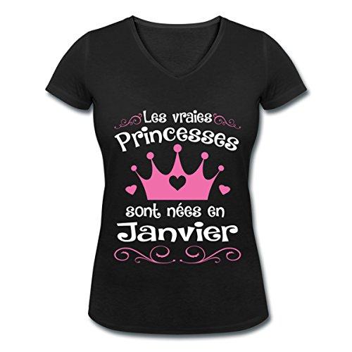 Anniversaire-Princesses-Sont-Nes-En-Janvier-T-shirt-col-V-Femme-de-Spreadshirt