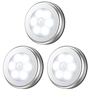 Criacr Motion Sensor Light, Under Cabinet LED Night Light, Closet Lights with 3M Adhesive Pads and Magnet, Sensor Night Lights for Staircase, Cupboard, Wardrobe, Kitchen, etc. (6 LED, 3 Pack) -Silver