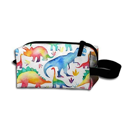 Travel Makeup Rainbow Watercolour Dinosaurs Beautiful Waterproof Cosmetic Bag Quick Makeup Bag Pencil Case