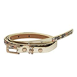 SRI Womens Causal Party Wear Metal Stud Waist Belt With Designer Buckle - Golden