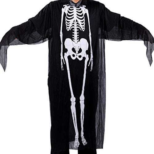 yhdcc44 Unisex-Halloween-Cosplay-Kostüm, Skelett-Dämone, Geister, Hexe, Umhang, Maske, Handschuhe, Kunstnägel, Party, Trick-Requisiten-Set, Stoff, Black+White#1, Shown.(Approx) (Black Rose Hexe Kostüm)