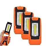 Batterie Magnet 3W COB LED Arbeitslampe Inspektionslampe Taschenlampe Lampen mit Magnethalterung und Hängender Ring, 3er Pack von Enuotek