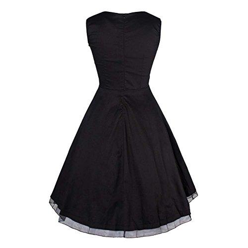 Rétro 1950 de femme Audrey Hepburn robe de soirée cocktail années Rockabilly Swing robe Noir