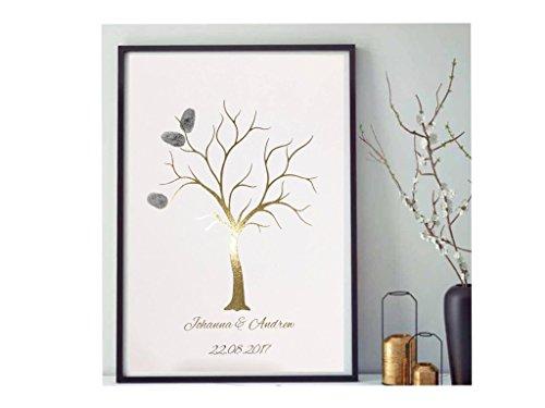 Poster Gold, Silber oder Kupfer 'Hochzeitsbaum' 'Wedding Tree' Gästebuch Fingerabdrücke in A4 oder...