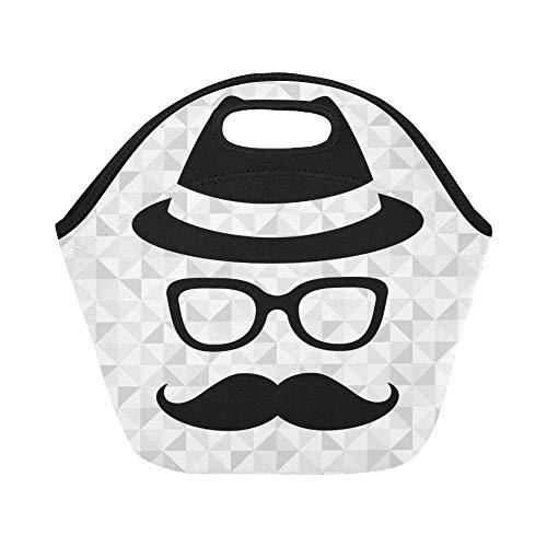 Isolierte Neopren Lunch Bag Hipster Mann große wiederverwendbare thermische dickes Mittagessen Tragetaschen für Lunch-Boxen für draußen, Arbeit, Büro, Schule