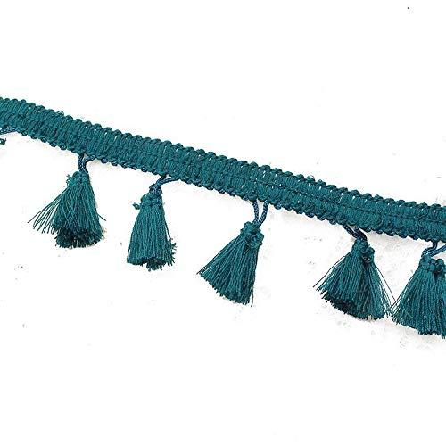 Yalulu 5 Meter Quastenborte Fransen Spitzenborte Borte mit Quasten Näharbeit für Kleidung DIY Fertigkeit Troddel Dekoration Gardinen Vorhang Deko (Blaugrün) (Gardinen Fransen Mit)