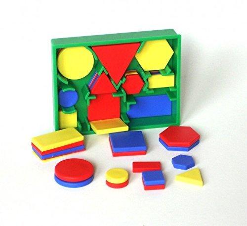 edx education Education 53865 Conjunto de figuras en 2D de bolsillo con círculos, triángulos, cuadrados, rectángulos y hexágonos de color rojo, verde, azul y amarillo