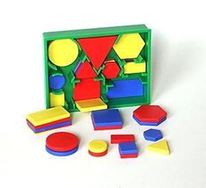 edx education 53865 Conjunto de figuras en 2D de bolsillo, color rojo, verde, azul y amarillo