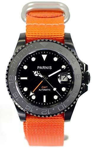 PARNIS 3000 GMT 41mm Herren-Automatikuhr Markenuhrwerk MZ-3814 Saphirglas PVD Edelstahl-Gehäuse NATO-Armband Keramiklünette 5 Bar wasserdicht