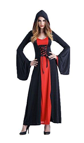Make Geisha Halloween Up Kostüm (Honeystore Damen's Kostüm Halloween Fasching Karneval Hexe Vampir Lady Mittelalter Zauberin Kleid Mit Kapuze Rot)