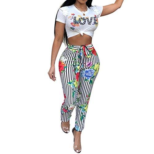 Juleya Damen Lange Overalls Zweiteiller Jumpsuit Sexy Bauchfrei T-Shirt High Waist Gestreift Hosen 2 Stück Freizeit Sets 4 Farben S-2XL -