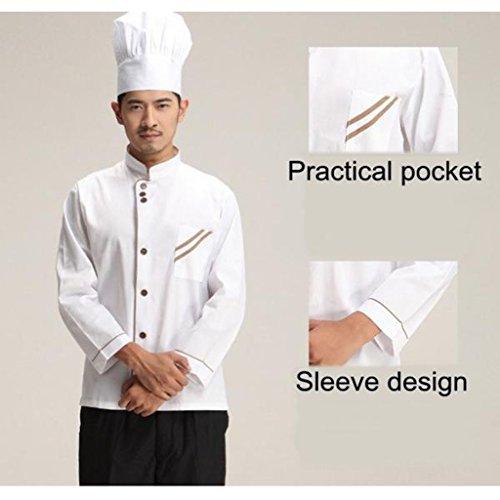 F Fityle Weiß Langarm Kochjacke Bäckerjacke mit Knöpfe Gastronomie Arbeitskleidung Koch Küchen Uniformen Kochkleidung - Weiß, XXL - 6
