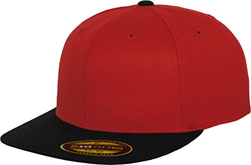 Two Tone Fitted Cap (Flexfit Erwachsene Mütze Premium 210 Fitted 2-Tone, Red/Blk, L/XL, 6210T)